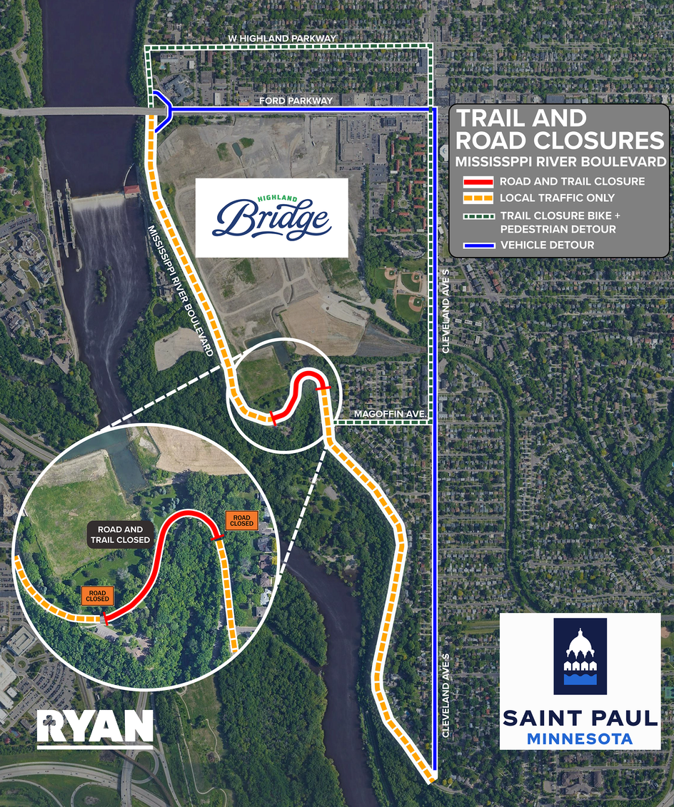 Mississippi River Boulevard and Trail to Close May 10 for Construction of MRB Crossing